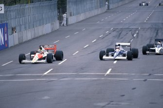 Ayrton Senna, McLaren MP4-5B Honda, leads Jean Alesi, Tyrrell 018 Ford, and Gregor Foitek, Brabham BT58 Judd
