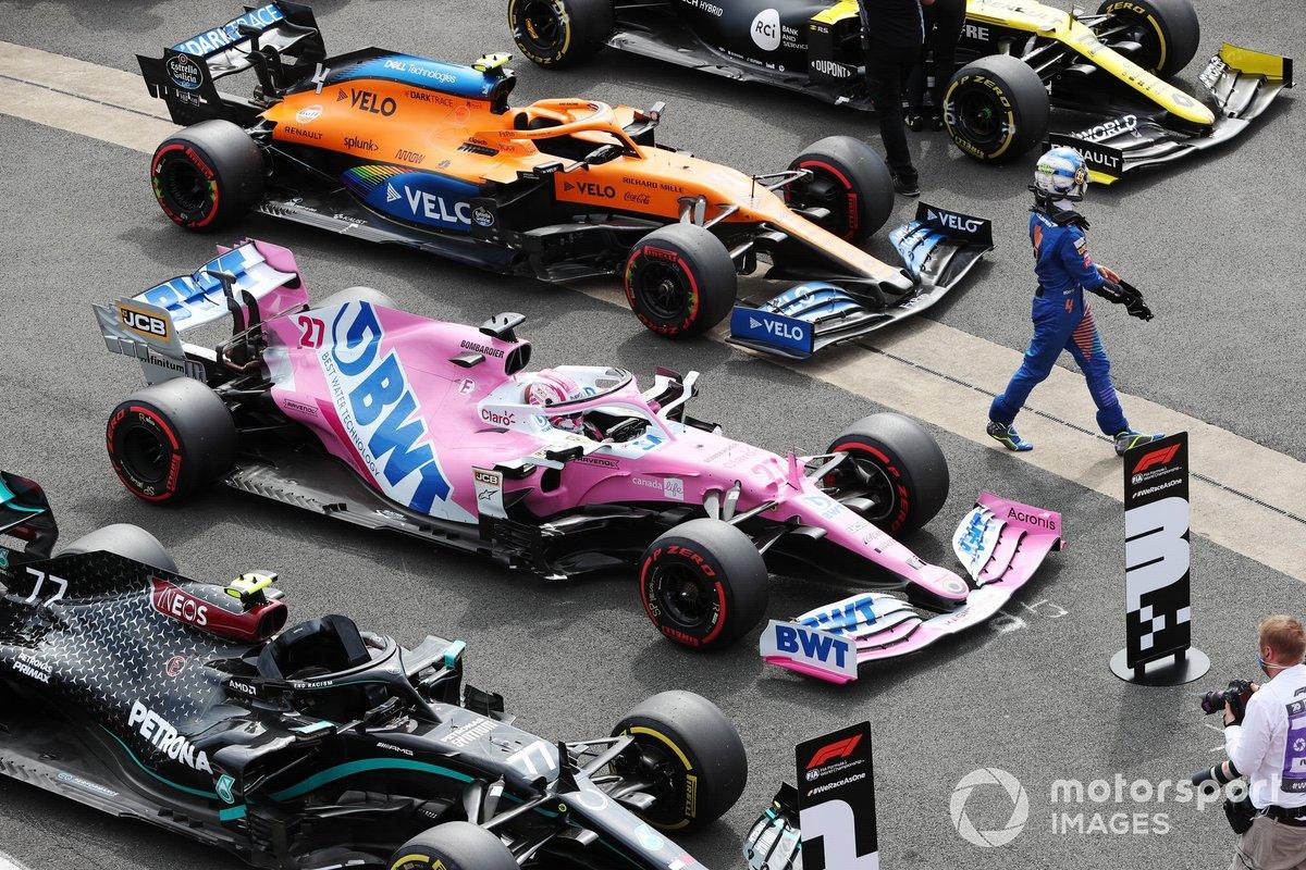 Lando Norris, McLaren, nel Parc Ferme dopo le Qualifiche