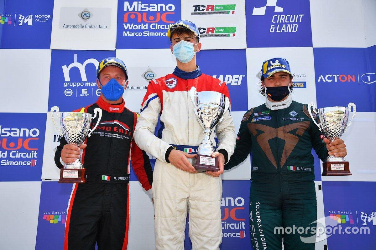 Podio: Secondo posto Michele Imberti, Elite Motorsport, primo posto Eric Brigliadori, BF Motorsport, terzo posto, Eric Scalvini, Scuderia del Girasole
