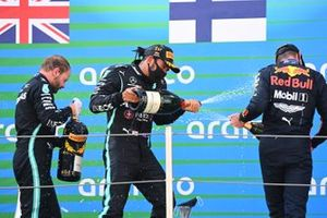 Lewis Hamilton, Mercedes-AMG Petronas F1, 1st position, Max Verstappen, Red Bull Racing, 2nd position, Valtteri Bottas, Mercedes-AMG Petronas F1, 3rd position, on the podium