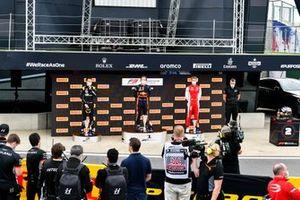 Oscar Piastri, Prema Racing, Race Winner Liam Lawson, Hitech Grand Prix and Logan Sargeant, Prema Racing on the podium