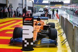 Carlos Sainz Jr., McLaren, stops in parc ferme