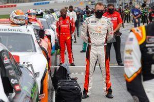 Daniel Hemric, JR Motorsports stands for the National Anthem