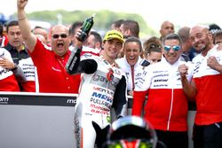 Winner Francesco Bagnaia, Aspar Team Mahindra with Jorge Martín and Mufaddal Choonia