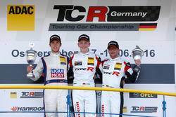 Podium: race winner Dominik Fugel, Team Honda ADAC Sachsen, second place Mike Halder, Liqui Moly Team Engstler, third place Steve Kirsch, Team Honda ADAC Sachsen