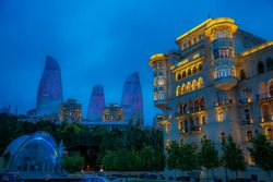 Baku night atmosphere, Flame Towers and old town