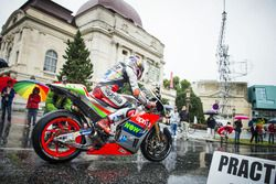 Stefan Bradl, Aprilia Racing Team Gresini performs at the MotoGP parade