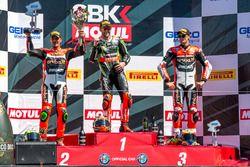 Sunday race podium: 1st place Tom Sykes, Kawasaki Racing Team, 2nd place Davide Giugliano, Aruba.it
