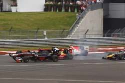Sean Gelael, Campos Racing and Gustav Malja, Rapax crash