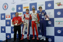 Podium race 1: second place Marcos Siebert, Jenzer Motorsport; Race winner Mick Schumacher, Prema Powerteam; third place Raul Guzman Marchina, DR Formula