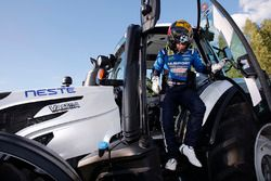 Mads Ostberg, M-Sport Ford Fiesta WRC with a competition tractor