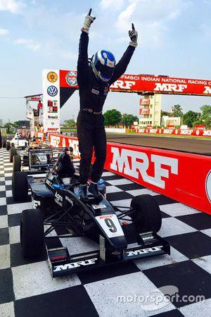 Race 1 winner Vikash Anand