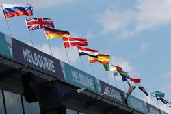 Flags over the pit lane