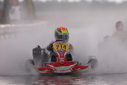 Dylan Tavella tackles the wet track