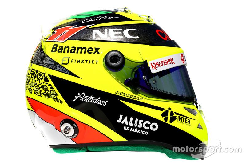 El casco de Sergio Pérez, Sahara Force India F1, 2016