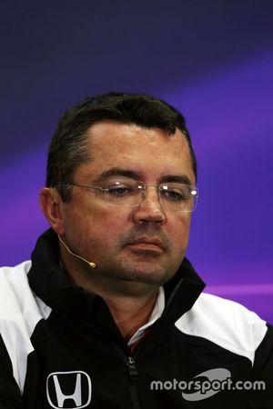Eric Boullier, Directeur Sportif McLaren lors de la conférence de presse