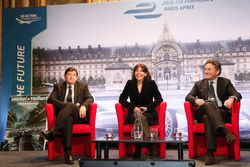 Patrick Kanner, French Sports Minister, Anne Hidalgo, mayor of Paris, Alejandro Agag, Formula E CEO