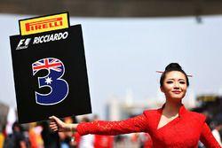 The grid girl for Daniel Ricciardo, Red Bull Racing