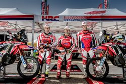 Paulo Goncalves, Honda; Kevin Benavides, Honda; Ricky Brabec, Honda