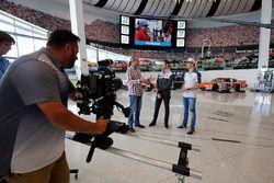 Romain Grosjean, Haas F1 Team, Esteban Gutierrez, Haas F1 Team visit the NASCAR Hall of Fame in Char