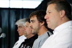 Mark Miles, Michael Andretti, Andretti Autosport team owner, Fernando Alonso, Zak Brown press confer