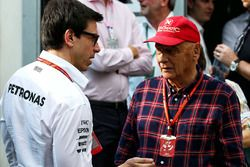 Toto Wolff, Mercedes AMG F1 Shareholder and Executive Director with Niki Lauda, Mercedes Non-Executive Chairman