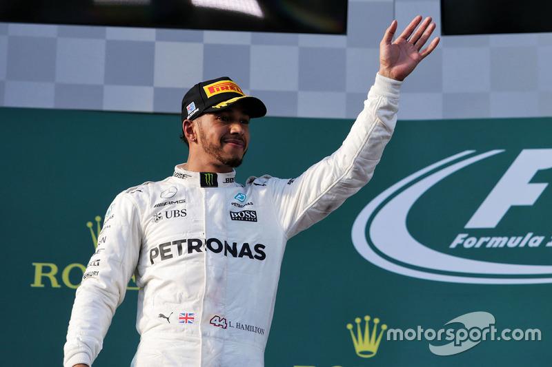 Podio: il secondo classificato Lewis Hamilton, Mercedes AMG F1