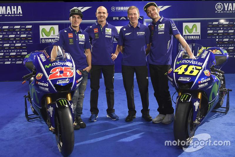 Maverick Viñales, Yamaha Factory Racing; Massimo Meregalli, Teamdirektor; Lin Jarvis, Renndirektor;