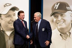 NASCAR Hall of Fame inductees Richard Childress and Rick Hendrick shake hands after receiving their Hall of Fame jackets