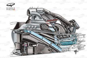 El Mercedes W05 muestra la instalación del motor PU106