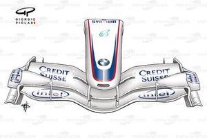 BMW F1.07 2007, ala anteriore e naso