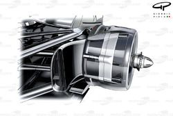 McLaren MP4-27 rear brake drum - sealed, retaining heat within the brakes
