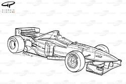 Vue d'ensemble de la Minardi M197