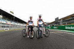 Esteban Ocon, Force India, Sergio Perez, Force India, à vélo