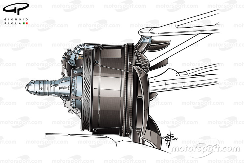 Mercedes F1 W08 brake duct, Canada 2017