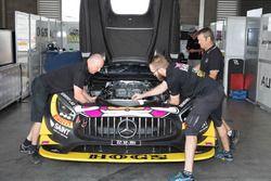 Mercedes AMG GT3 team members at work