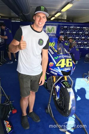 Cameron Waters in the Yamaha garage