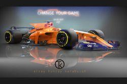Turuncu McLaren 2017 F1 konsept tasarım