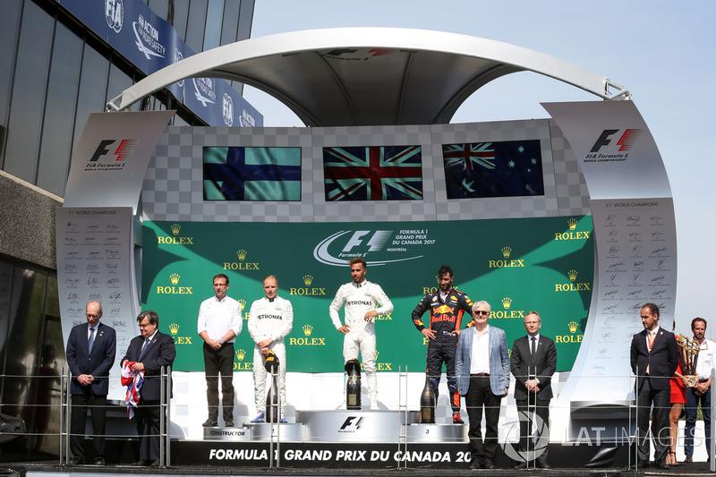 2017: 1. Lewis Hamilton, 2. Valtteri Bottas, 3. Daniel Ricciardo
