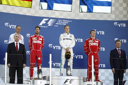 Russian President Vladimir Putin, Tony Ross, Race Engineer, Mercedes AMG F1, Second place Sebastian Vettel, Ferrari, Race winner Third place Valtteri Bottas, Mercedes AMG F1 Kimi Raikkonen, Ferrari, Russian Prime Minister Dimitri Medvedev