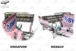 Comparaison du T-wing de la Force India VJM10, GP de Monaco GP vs GP de Singapour
