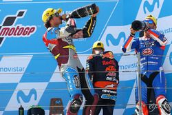 Podium: race winner Franco Morbidelli, Marc VDS, second place Mattia Pasini, Italtrans Racing Team,