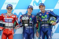 Polesitter Maverick Viñales, Yamaha Factory Racing; 2. Jorge Lorenzo, Ducati Team; 3. Valentino Rossi, Yamaha Factory Racing
