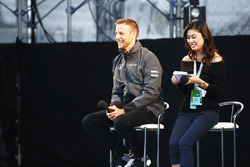 Jenson Button, McLaren, on stage in the F1 fanzone