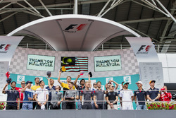 The drivers on the podium after drivers parade