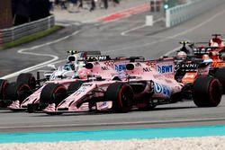 Sergio Perez, Sahara Force India F1 VJM10, Esteban Ocon, Sahara Force India F1 VJM10, Lance Stroll,