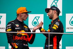 Daniel Ricciardo, Red Bull Racing and race winner Max Verstappen, Red Bull Racing celebrate on the podium
