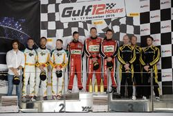 Podium: race winners #11 Kessel Racing Ferrari 488 GT3: Michael Broniszewski, Giacomo Piccini, David