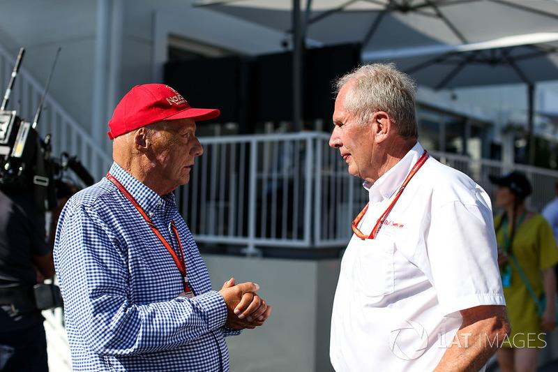 Niki Lauda, Presidente Non-Esecutivo Mercedes AMG F1, il Dr Helmut Marko, Consulente Red Bull Motors