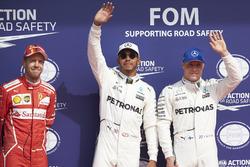 Top three Qualifiers Lewis Hamilton, Mercedes AMG F1, Sebastian Vettel, Ferrari, Valtteri Bottas, Mercedes AMG F1